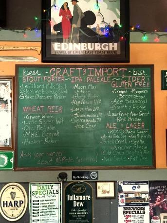 McBobs craft beer menu