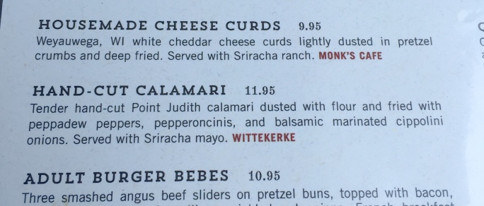 Calamari menu listing