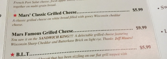 Mars Grilled Cheese options