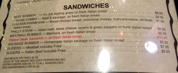 Frankie D's menu