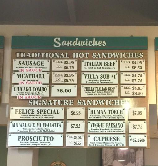 Glorioso menu