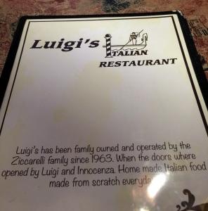 Luigi's menu cover