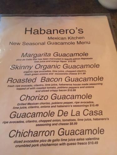 Habaneros Guacamole Menu