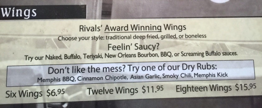 Rivals Wings Menu