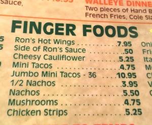 Ron's finger food menu