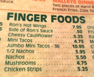 Ron's finger food menu