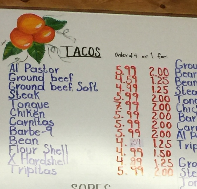 La Tapatia menu