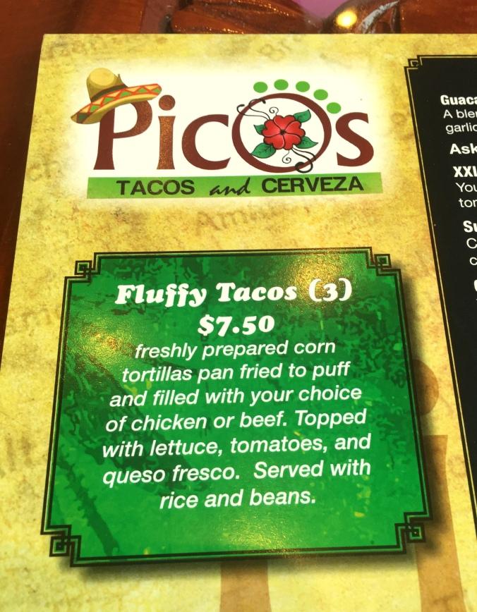 Pico's Fluffy Tacos Menu
