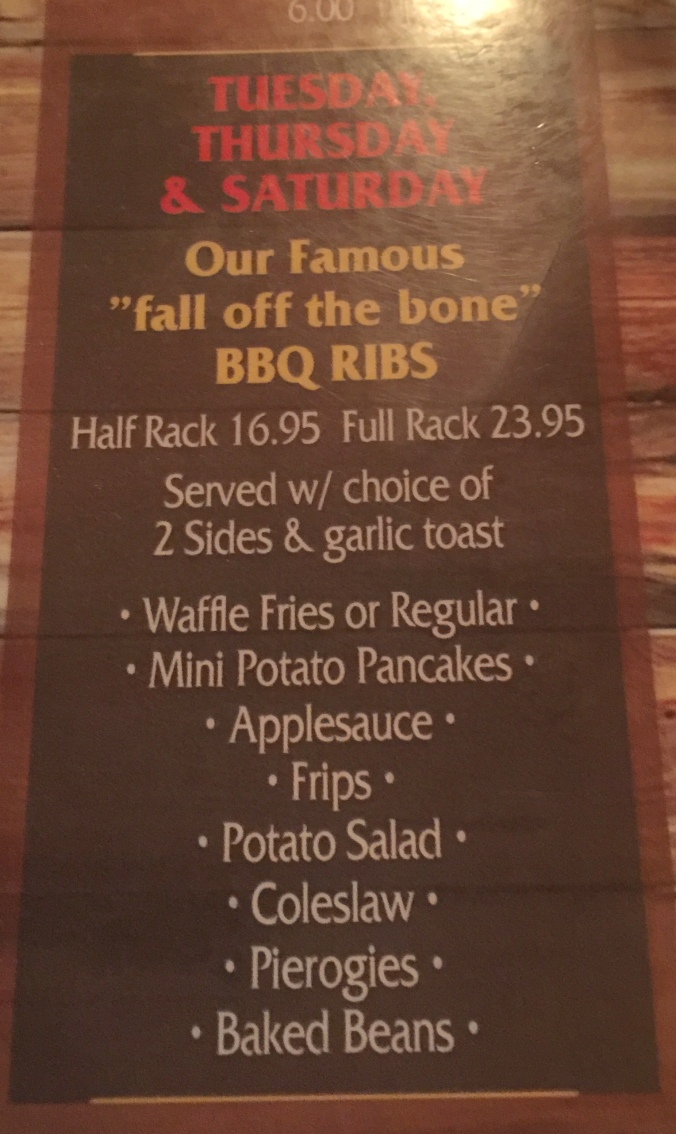 Southbound ribs menu